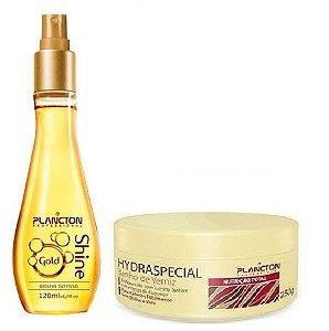 Plancton - Kit Máscara Hydraespecial Banho de Verniz 250g + Spray finalizador Gold Shine 120ml