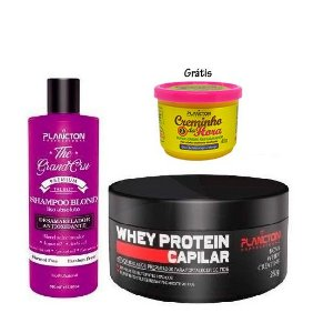 Plancton - Kit Shampoo Blond Liso Absoluto The Grand Cru 500ml e Whey Máscara Capilar 250g (Grátis Creminho da Hora 40g)