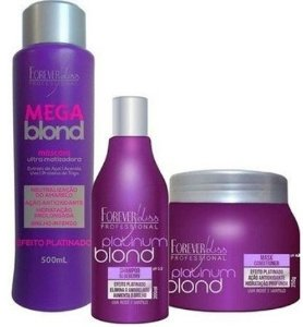 Forever Liss - Kit Platinum Mega Blond 500ml + Shampoo Blueberry 300ml + Máscara Matizadora Platinum Bond 250g