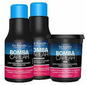 For Beauty - Bomba Capilar Kit Shampoo 300ml, Condicionador 300ml e Máscara 250g