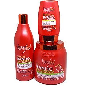 Forever Liss - Banho de Verniz Morango Kit Shampoo 500ml + Máscara 1kg + Leave-in 150ml