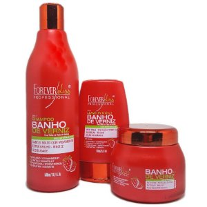Forever Liss - Banho de Verniz Morango Kit Shampoo 500ml + Máscara 250g + Leave-in 150ml