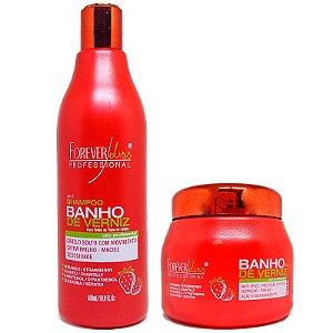 Forever Liss - Banho de Verniz Morango Kit Shampoo 500ml + Máscara 250g