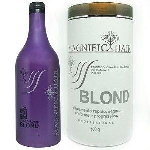 Magnific Hair - Kit Pó Descolorante Branco + Água Oxigenada Blond 40 volumes
