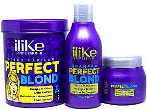 iLike Professional - Perfect Blond Kit Btx Redutor de Volume 1kg + Máscara Matizadora 250g + Shampoo 300ml