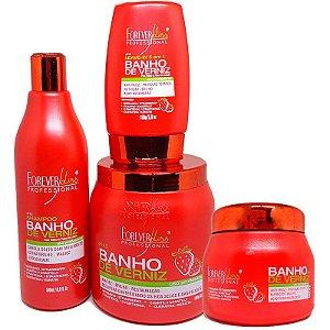 Forever Liss - Banho de Verniz Morango Kit Shampoo 500ml + Máscara 1kg e 250g + Leave-in 150ml