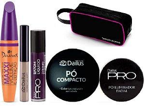 Dailus - Kit Poder Rímel Volume e Definição + Corretivo Soft Liquido + Batom Matte 20 Sapatilha + Pó Compacto + Pó Iluminador Fácil + Brinde