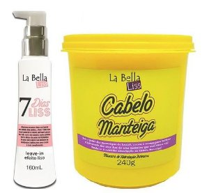 La bella liss - Kit Cabelo Manteiga 240g + Leave-in 7 Dias Liss 160ml