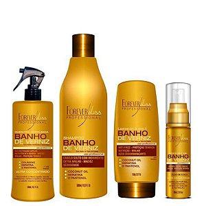 Forever Liss - Banho de Verniz Kit Shampoo 500ml, Queratina 300ml, Leave-in 150ml + Óleo de coco 160ml