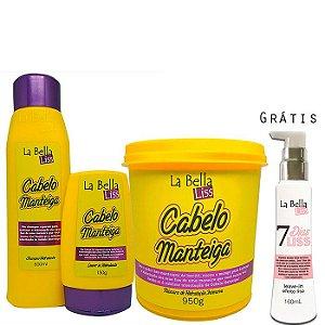 La Bella Liss - Cabelo Manteiga Kit Shampoo 500ml + Leave-in 150g + Máscara 950g GRÁTIS 7 Dias Liss*