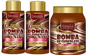 Forever Liss - Bomba de Chocolate Shampoo 300ml + Condicionador 300ml + Máscara 1kg