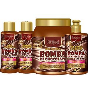 Forever Liss - Bomba de Chocolate Kit Shampoo 300ml + Condicionador 300ml + Creme de Pentear 300 ml + Máscara 1kg