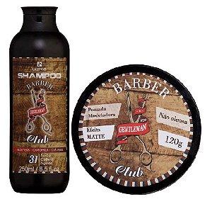 Lattans - Barber Club Shampoo Barba, Cabelo e Bigode 250ml + Pomada Modeladora Efeito Matte 120g
