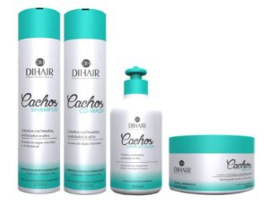 DiHair - Cachos Kit Shampoo 300ml + Co Wash 300ml + Máscara 250g + Creme Ativador 300ml