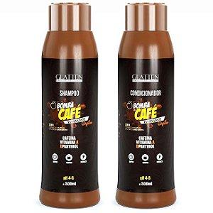 Glatten Professional - Bomba de Café Estimulante Shampoo e Condicionado 500ml cada