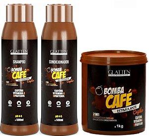 Glatten Professional - Bomba de Café Estimulante Shampoo 500ml + Condicionado 500ml + Máscara 1kg