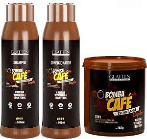 Glatten Professional - Bomba de Café Estimulante Shampoo 500ml + Condicionado 500ml + Máscara 240g