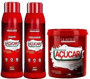 Glatten Professional - Açúcar Shampoo 500ml + Condicionador 500ml + Máscara 500g