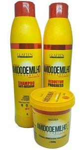 Glatten Professional - Amido de Milho Kit Reductor Progress 2 Passos 1l cada + Máscara Realinhamento Capilar Natural 500g
