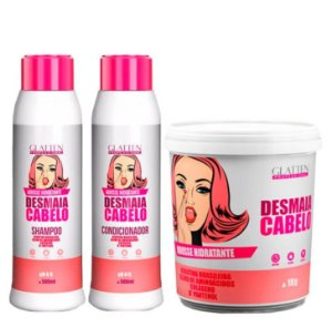 Glatten Professional - Mousse Hidratante Desmaia Cabelo Shampoo 500ml + Condicionador 500ml + Máscara 1kg