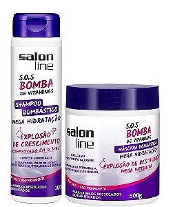 Salon Line - SOS Bomba de Vitaminas Mega Hidratação Bombástica Shampoo 300ml + Máscara 500g