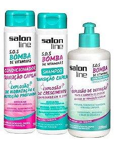 Salon Line - SOS Bomba de Vitaminas Transição Capilar Condicionador 300ml + Shampoo 300ml + Creme de Pentear 300g