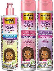 Salon Line - SOS Cachos Kids Shampoo + Condicionador + Creme de Pentear 3x300ml