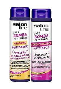 Salon Line - SOS Bomba de Vitaminas Explosão de Crescimento Shampoo e Condicionador Matizador 300ml cada