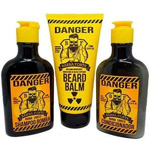 Barba Forte - Danger Kit Shampoo Bomba + Condicionador + Bálsamo Hidratante Beard Balm 3x170g