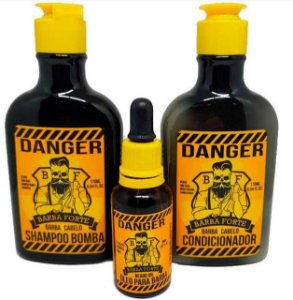 Barba Forte - Danger Kit Shampoo Bomba, Condicionador 170ml cada e ÓleO para Barba 30ml