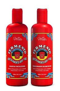 Portier - Fermento Capilar Kit Shampoo Fortalecedor + Condicionador Reconstrutor 2x 500ml