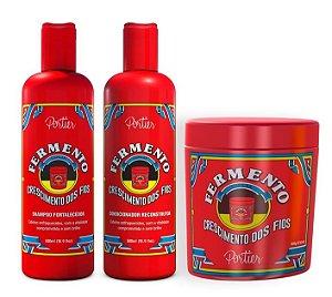 Portier - Fermento Capilar Kit Shampoo + Condicionador + Máscara 3x500g