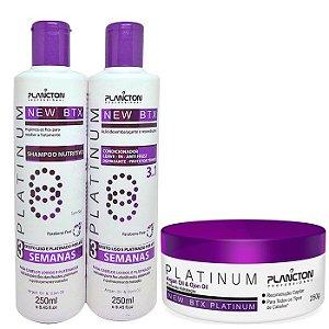 Plancton - New BTX Platinum Kit Shampoo + Condicionador + Btx Alisante 3x250g