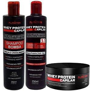 Plancton Whey Protein Kit Shampoo Bomba + Condicionador + Máscara 3x250ml