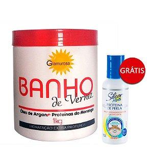 Glamurosa - Banho de Verniz Hidratação Extra Profunda Morango 1Kg + Avanti Leave-in com Proteínas de Seda 118 ml Vence 01/2018