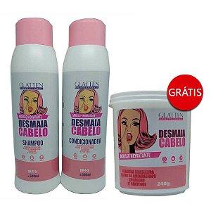 Glatten Professional - Mousse Hidratante Desmaia Cabelo Shampoo + Condicionador 2x250 GRÁTIS Máscara 240g