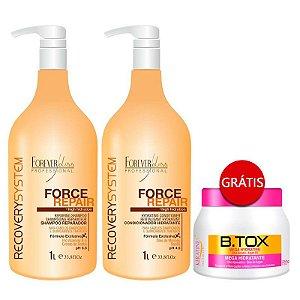 Forever Liss - Force Repair Shampoo e Condicionador 2x1Litro GANHE Btox Keratinex 250g