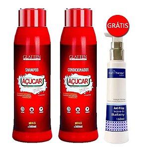 Glatten Professional - Hidratação de Açúcar Shampoo + Condicionador GANHE Leave-in Blueberry Fruit Therapy