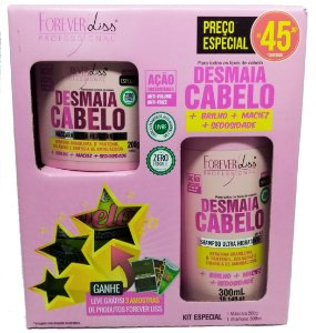 Kit Desmaia Cabelo Ultra Hidratante Shampoo 300ml, Máscara 200g e Brinde 3 Sachês Forever Liss