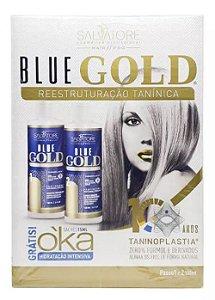 Salvatore - Blue Gold Escova Progressiva 2 Passos 100mL Cada + Brinde Sachê Hidratação Intensiva 15ml