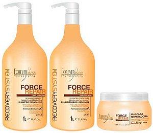Forever Liss - Force Repair Kit Shampoo, Condicionador, Máscara Profissional Reconstrução Capilar