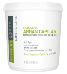For Beauty - Max Illumination Redutor de Volume Argan Oil Reconstrução Profunda 1kg (Creme Alisante)
