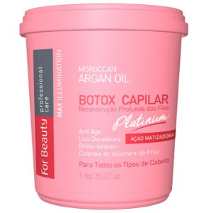 For Beauty - Max Illumination Redutor de Volume Platinum Argan Oil Reconstrução Profunda 1kg (Creme Alisante)