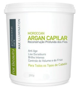 For Beauty - Max Illumination Redutor de Volume Argan Oil Reconstrução Profunda 250g (Creme Alisante)