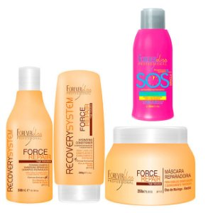 Forever Liss - Force Repair Kit Shampoo 300ml, Condicionador 200g e Máscara Reconstrução Capilar Home Care 250g + SOS Antiemborrachamento 300g