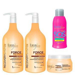 Forever Liss - Force Repair Kit Shampoo, Condicionador e Máscara Reconstrução Capilar + SOS Antiemborrachamento