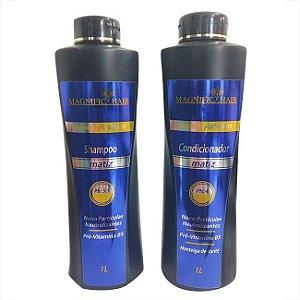 Magnific Hair - Shampoo e Condicionador Nano Platinun Matizador 1L cada