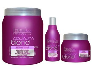 Forever Liss - Platinum Blond Kit Loira Poderosa (Redutor de Volume 1kg + Shampoo e Máscara Blueberry)