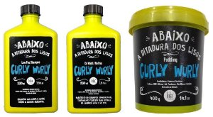 Lola Cosmetics - Curly Wurly Kit Low Poo Shampoo 230ml, Co wash/No Poo 230ml e Pudding 400g Cachos