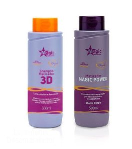 Magic Color - Kit 3D Shampo + Matizador Magic Power Efeito Pérola 500ml NOVA EMBALAGEM